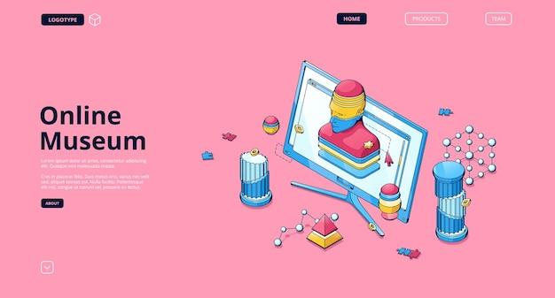 Page de destination isométrique du musée en ligne