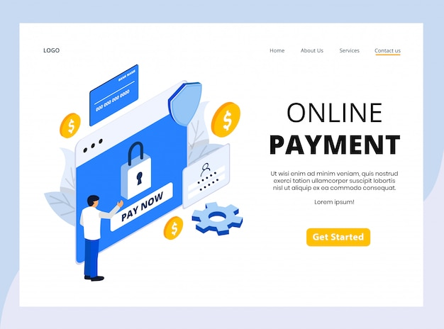 Page de destination isométrique du paiement en ligne