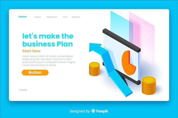 Page de destination isométrique du plan d'affaires