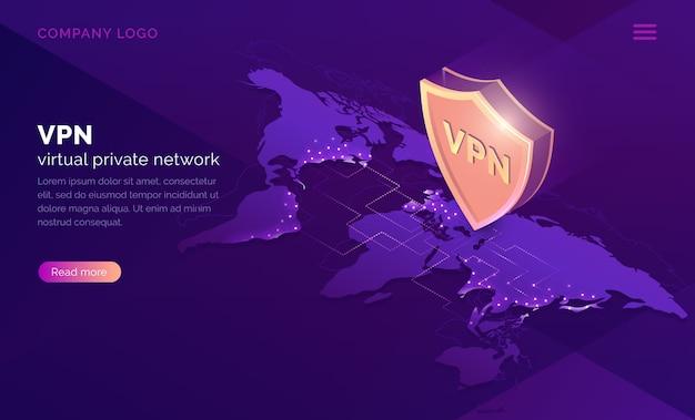 Page de destination isométrique du réseau privé virtuel vpn