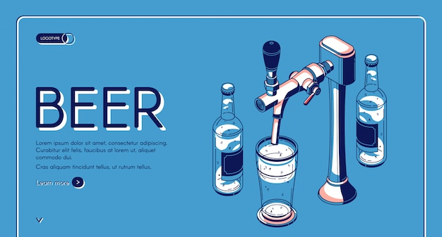 Page de destination isométrique du robinet de bière, boisson alcoolisée