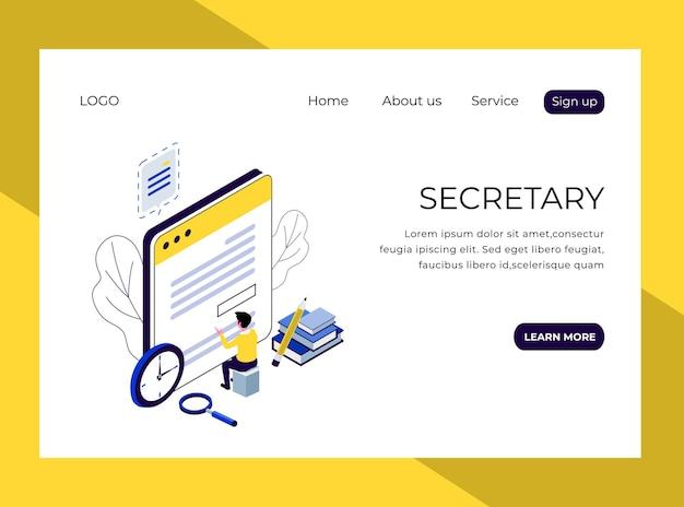 Page de destination isométrique du secrétaire