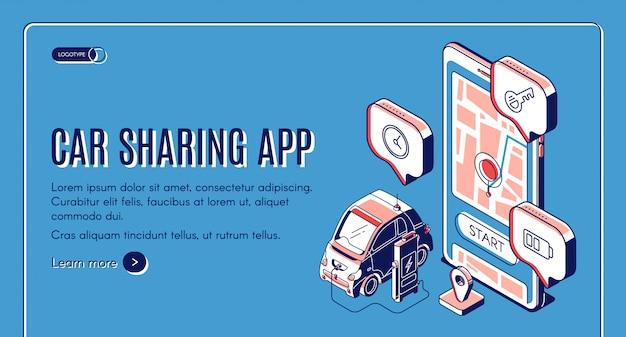 Page de destination isométrique du service d'application de partage de voiture