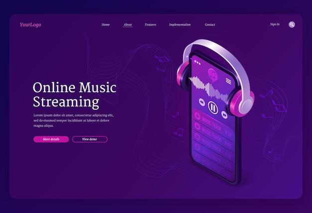 Page de destination isométrique du service de streaming de musique en ligne