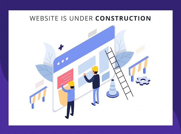La page de destination isométrique du site web est en construction