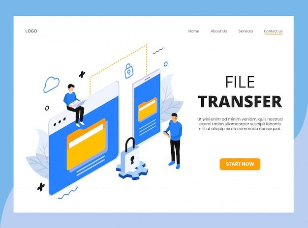 Page de destination isométrique du transfert de fichiers