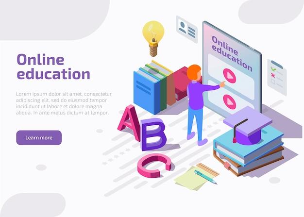 Page de destination isométrique de l'éducation en ligne, bannière web.