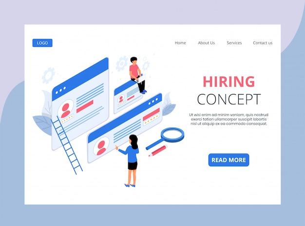 Page de destination isométrique de l'embauche et du recrutement