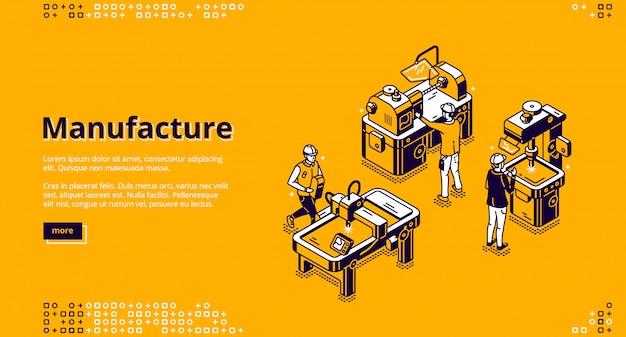 Page de destination isométrique de fabrication, bannière web