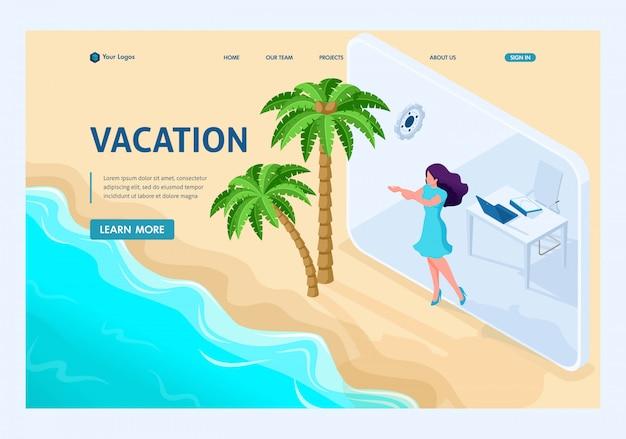 La page de destination isométrique de la fille passe de bureau en vacances via une tablette.