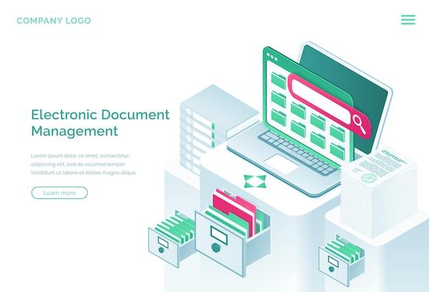 Page de destination isométrique de la gestion des documents électroniques