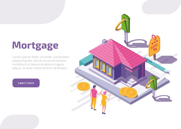 Page de destination isométrique hypothécaire ou bannière web.
