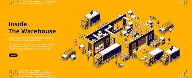 Page de destination isométrique à l'intérieur de l'entrepôt