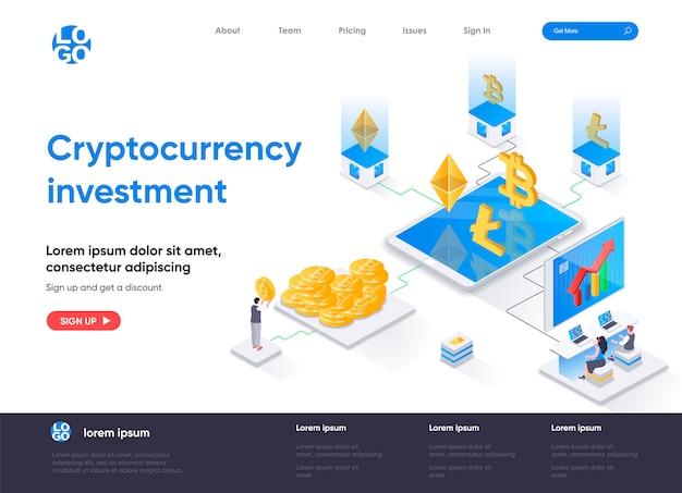 Page de destination isométrique d'investissement en crypto-monnaie