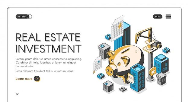 Page de destination isométrique de l'investissement immobilier