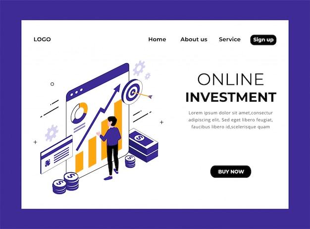 Page de destination isométrique de l'investissement en ligne