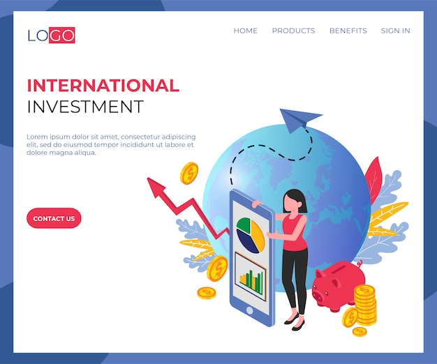 Page de destination isométrique des investissements internationaux