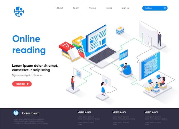 Page de destination isométrique de lecture en ligne