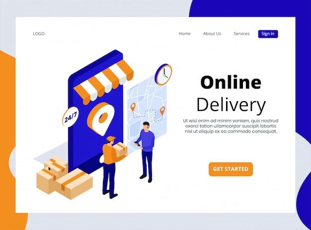 Page de destination isométrique de la livraison en ligne