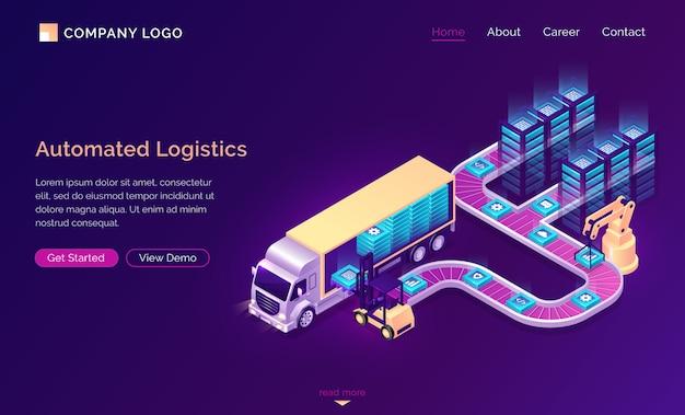 Page de destination isométrique de logistique automatisée