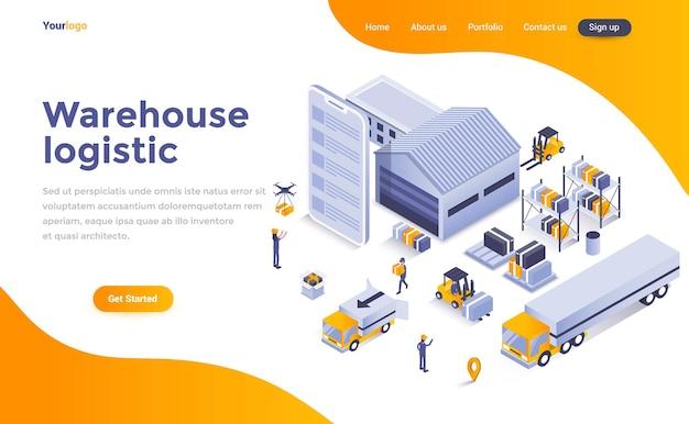 Page de destination isométrique de la logistique d'entrepôt