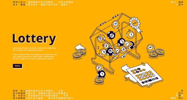 Page de destination isométrique de la loterie