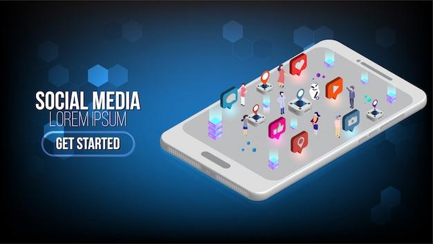 Page de destination isométrique de marketing des médias sociaux avec caractère.concept d'information publicitaire.