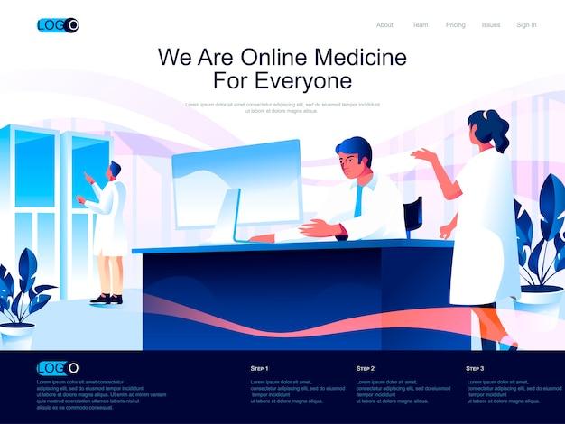 Page de destination isométrique de médecine en ligne avec situation de caractères plats