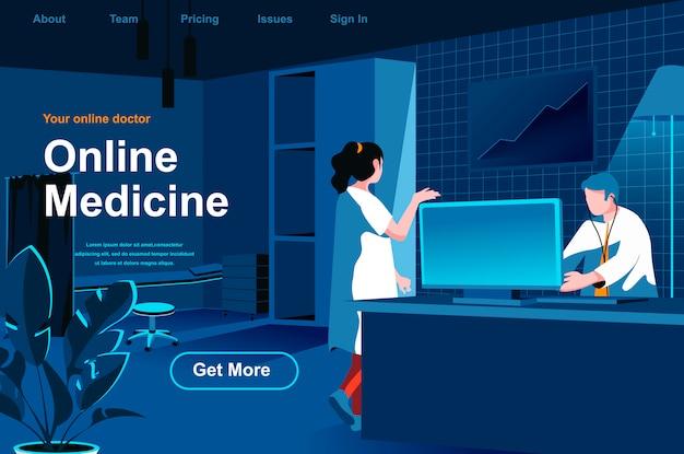 Page de destination isométrique de médecine en ligne.