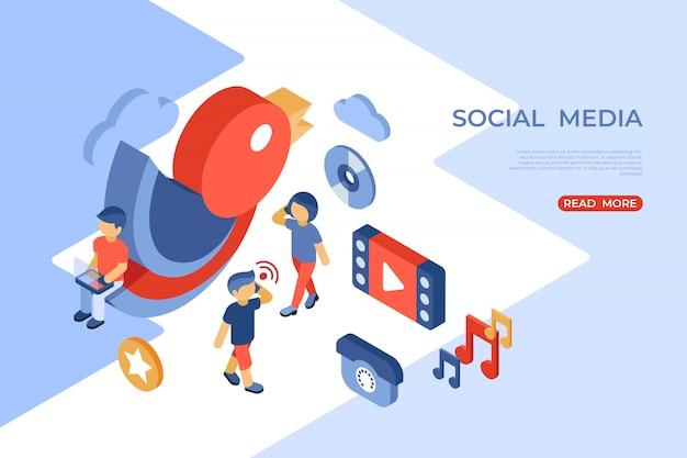 Page de destination isométrique des médias sociaux et de la communication