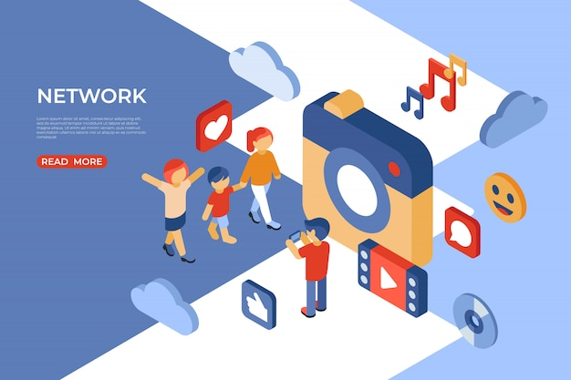 Page de destination isométrique des médias sociaux et du réseau