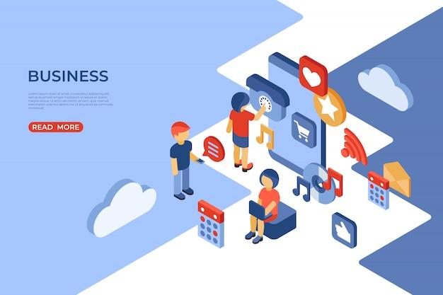 Page de destination isométrique des médias sociaux et des entreprises