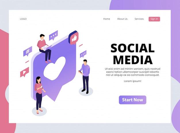 Page de destination isométrique des médias sociaux