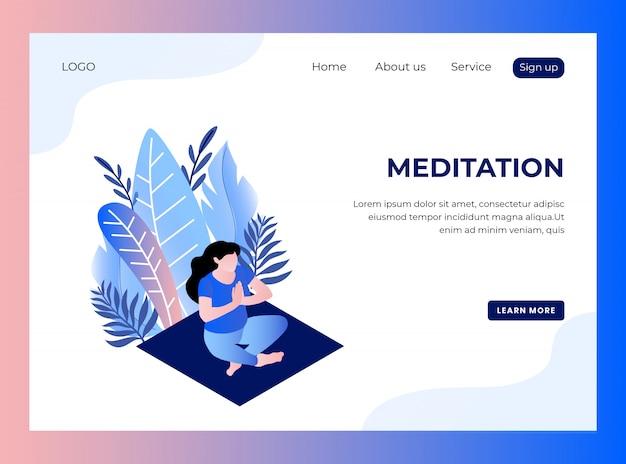 Page de destination isométrique de la méditation
