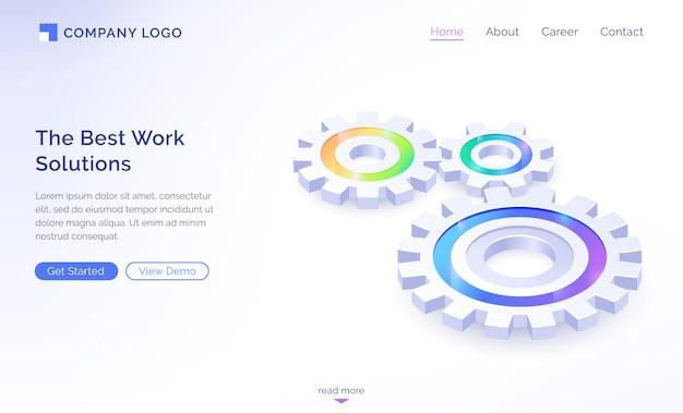 La page de destination isométrique des meilleures solutions de travail
