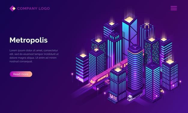 Page de destination isométrique de la métropole de la ville intelligente.