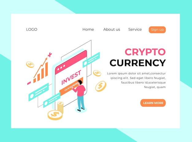 Page de destination isométrique de la monnaie crypto