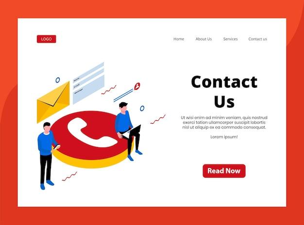 Page de destination isométrique de nous contacter