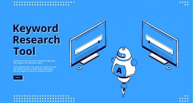Page de destination isométrique de l'outil de recherche de mots clés.