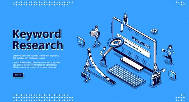 Page de destination isométrique de l'outil de référencement de recherche de mots clés