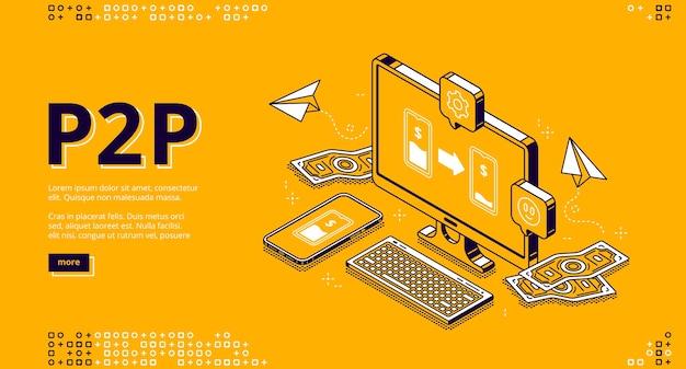 Page de destination isométrique p2p, prêt peer-to-peer, transfert d'argent
