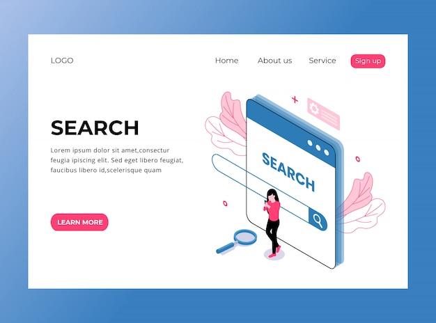Page de destination isométrique de la page de recherche