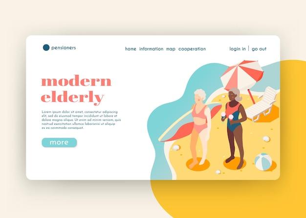 Page de destination isométrique des personnes âgées modernes avec deux femmes sur la plage sud qui sont venues surfer