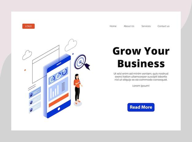 Page de destination isométrique pour développer votre entreprise