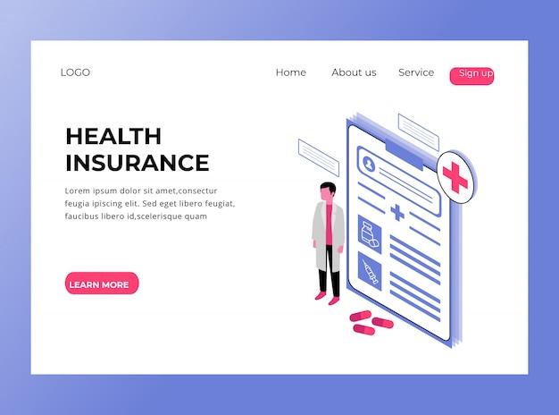 Page de destination isométrique de la prime d'assurance maladie