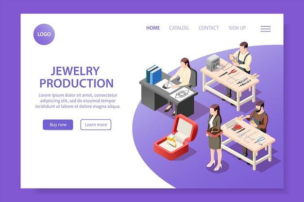 Page de destination isométrique de la production de bijoux