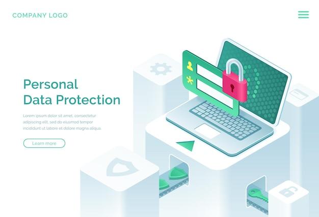 Page de destination isométrique de la protection des données personnelles