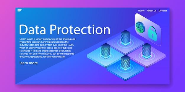 Page de destination isométrique de la protection des données