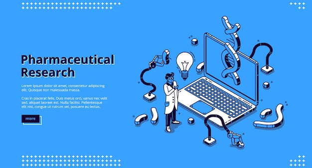 Page de destination isométrique de la recherche pharmaceutique