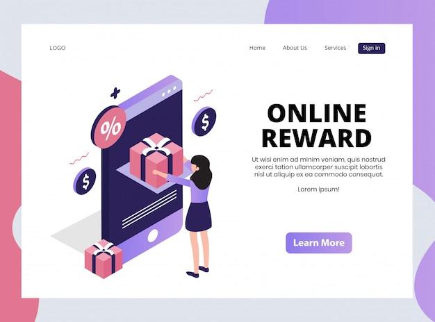 Page de destination isométrique de la récompense en ligne